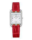 Cape Cod PM Watch with Diamonds & Alligator Leather Strap, Red