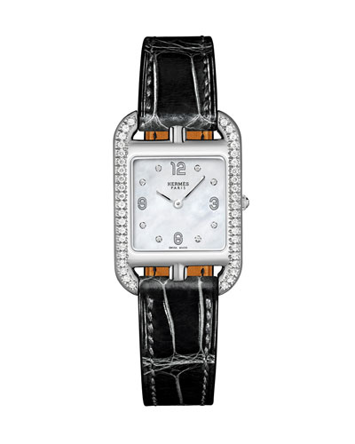 Cape Cod PM Watch with Diamonds & Alligator Strap, Black