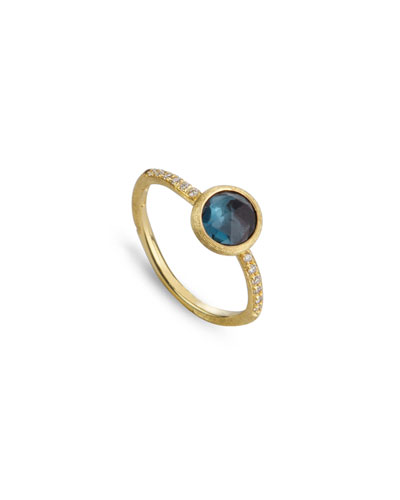 Jaipur Blue Topaz & Diamond Ring