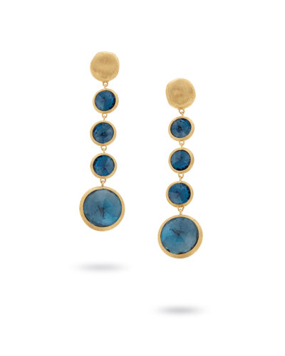 Jaipur 18K Gold Blue Topaz Drop Earrings