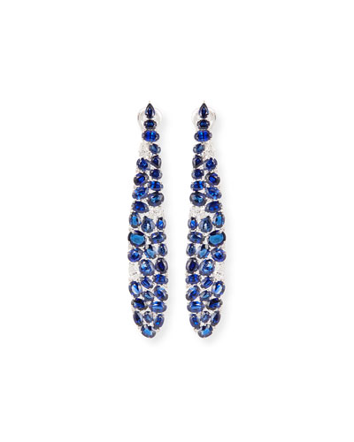 Elongated Blue Sapphire & Diamond Earrings