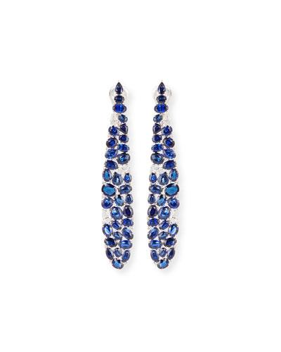 Elongated Blue Sapphire & Diamond Earrings