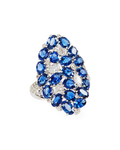 Mosaic Blue Sapphire & Diamond Shield Ring, Size 7