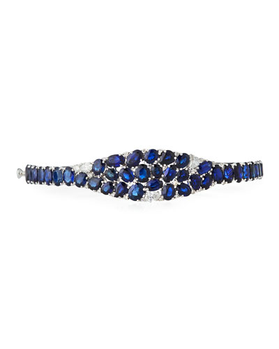 Blue Sapphire & Diamond Mosaic Cuff Bracelet