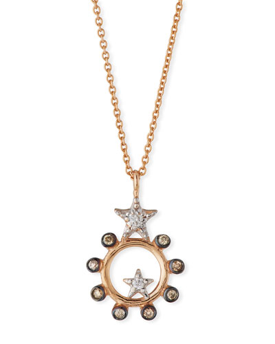 Eclectic Star Circle Necklace with Diamonds