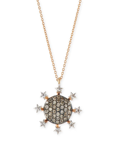 Eclectic Circle Star Pendant Necklace with Diamonds