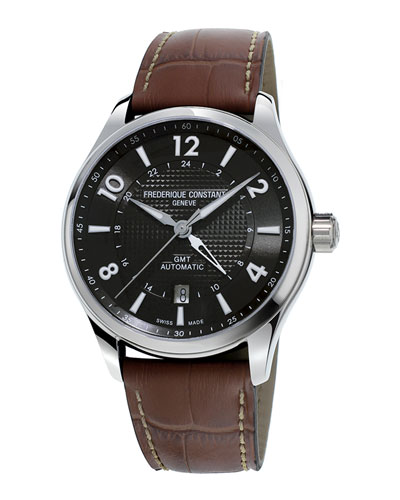 FREDERIQUE CONSTANT 42MM MEN'S RUNABOUT AUTOMATIC GMT WATCH