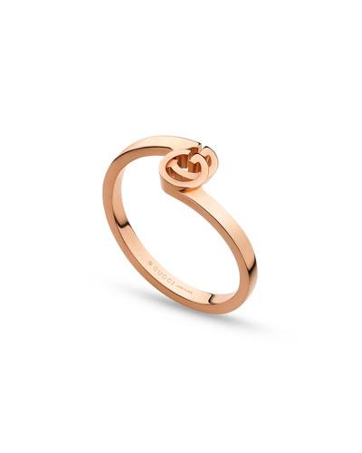 Running G Stacking Ring In 18K Rose Gold, Size 6.25