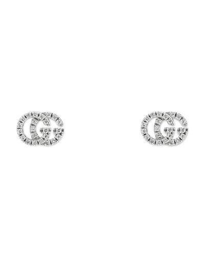 Running G Pave Diamond Stud Earrings In 18K White Gold