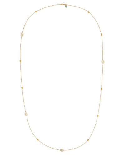 Running G Topaz Station Necklace in 18K Yellow Gold, 36