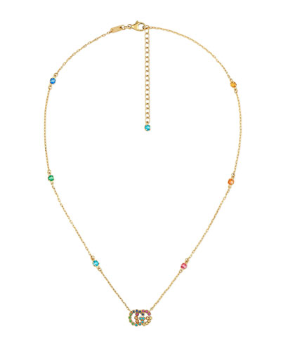 Running G Station Necklace with Topaz, Citrine & Sapphire