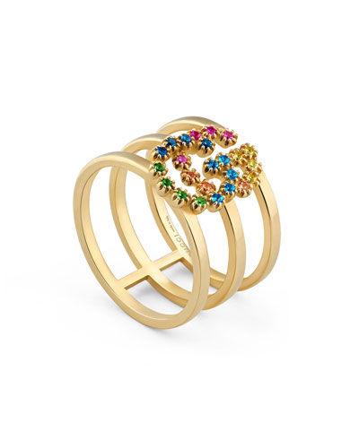 Running G Three-Row Band Ring with Topaz & Sapphire, Size 6.75