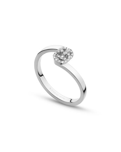 Running G Stacking Ring with Diamonds in 18K White Gold, Size 6.25