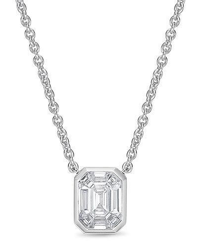 Emerald-Shaped Diamond Baguette Pendant Necklace