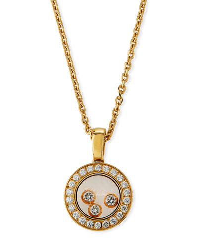 Happy Diamonds Round Pendant Necklace in 18K Gold