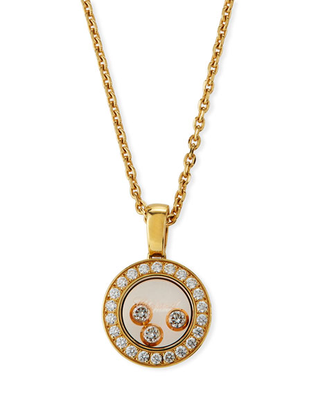 Chopard Happy Diamonds Round Pendant Necklace in 18K Gold
