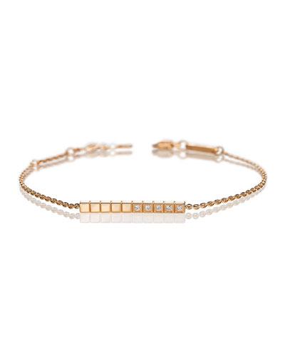 Ice Cube Diamond Bar Bracelet in 18K Rose Gold