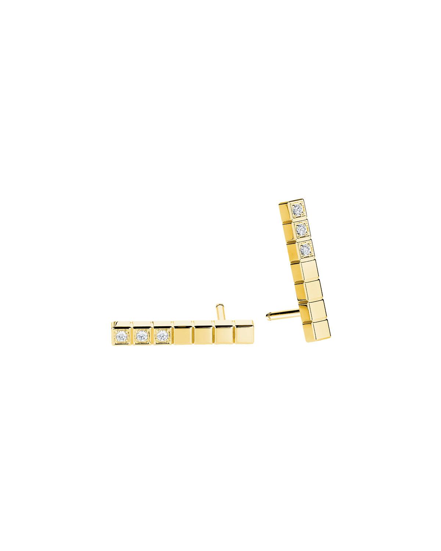 Ice Cube Diamond Bar Earrings in 18K Gold