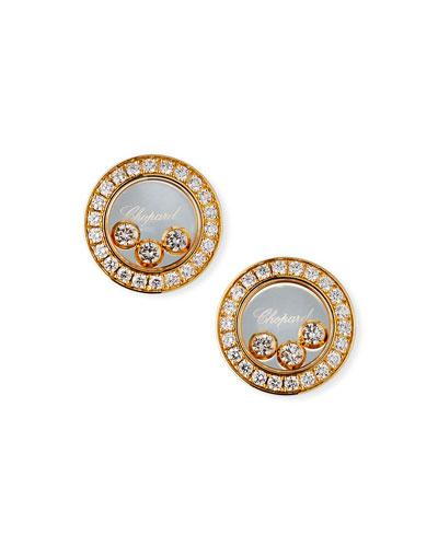 18k Gold Diamond Icon Stud Earrings