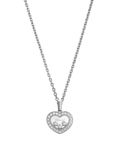 Happy Diamonds Heart Pendant Necklace in 18K White Gold
