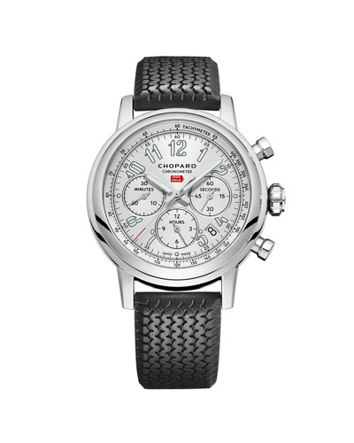 42mm Racing Mille Miglia Classic Chronograph Watch with Tire Strap, Black/Red