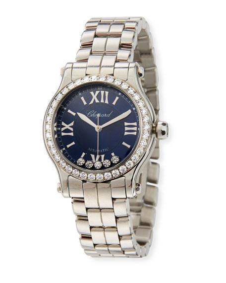 Chopard 30mm Happy Sport 5-Diamond Watch w/ Bracelet Strap, Navy