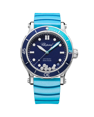 40mm Happy Ocean Sport Medium Watch with Diamonds, Blue/Turquoise