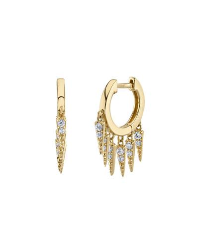 Large Pavé Diamond Fringe Hoop Earrings