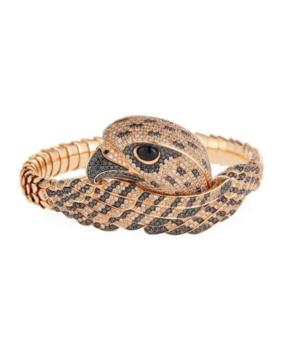18k Cognac Diamond Falcon Bangle Bracelet
