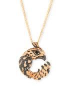 18k Cognac Diamond Pavé Falcon Pendant Necklace