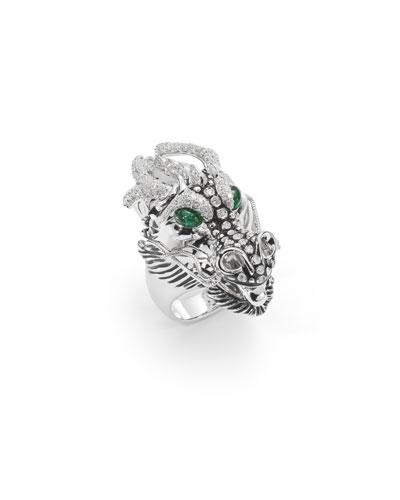 18k Diamond & Emerald Dragon Ring, Size 6.5