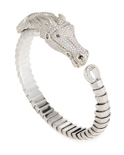 18k Diamond Pavé Horse Bangle Bracelet