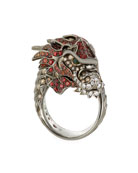 18k Cognac Diamond & Sapphire Dragon Ring, Size 6.5