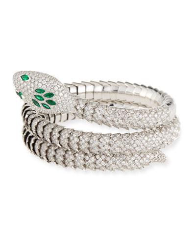 18k Emerald & Diamond Snake Bangle Bracelet