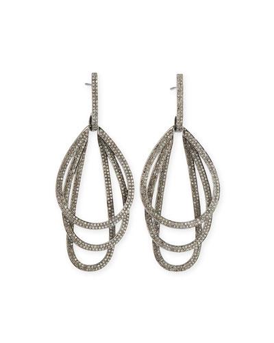 SIENA LASKER Triple Hoop Diamond Drop Earrings