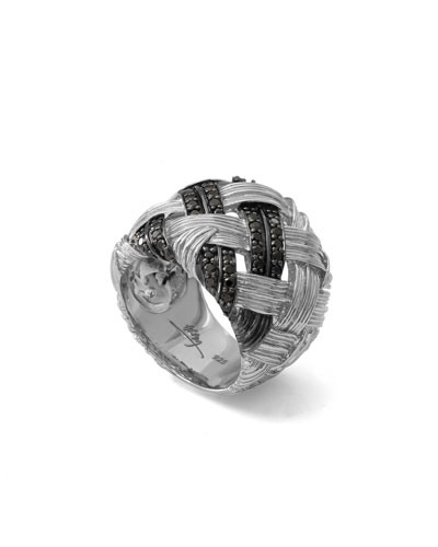 Palm Woven Band Ring with Black Diamonds