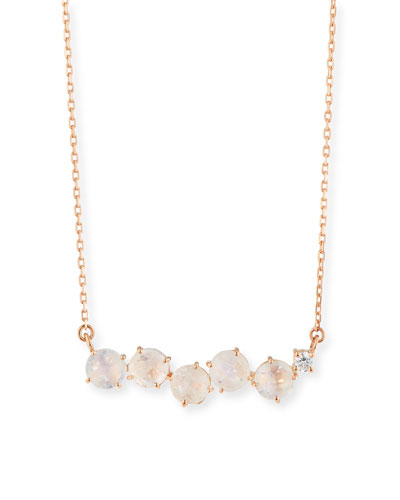 Uneven Rainbow Moonstone Bar Pendant Necklace with Diamond