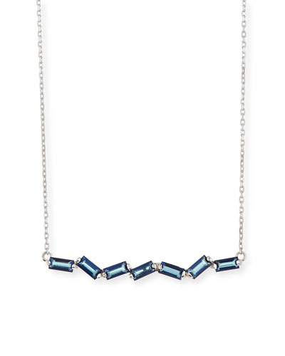 Zigzag Blue Topaz Bar Necklace