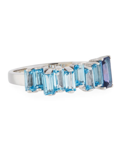 Baguette Swiss Blue Topaz Band Ring, Size 6.5