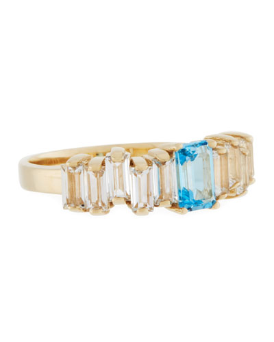 Blue & White Topaz Baguette Band Ring in 14K Yellow Gold, Size 7