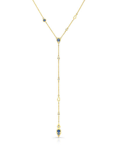 Birds of Paradise Sapphire & Diamond Y-Drop Necklace