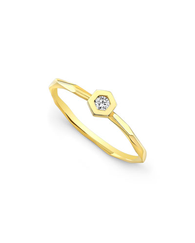 Ron Hami Starburst Love Bolt Stacking Rings with Diamonds, Size 7