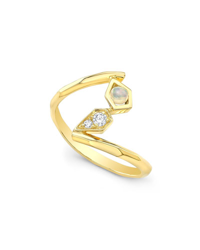 Diamond & Opal Wrap Ring in 14K Gold