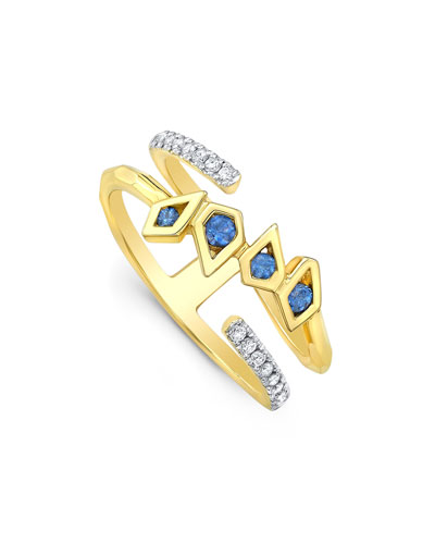 Birds of Paradise Diamond & Sapphire Ring, Size 7