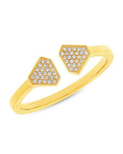 RON HAMI ATHENA OPEN RING WITH DIAMONDS, SIZE 7