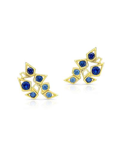 Sapphire Climber Earrings in 14K Gold