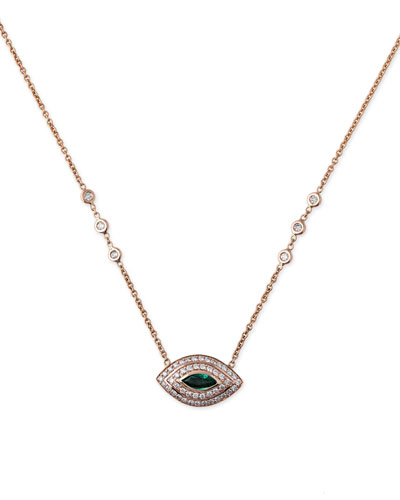 Diamond & Emerald Eye Pendant Necklace