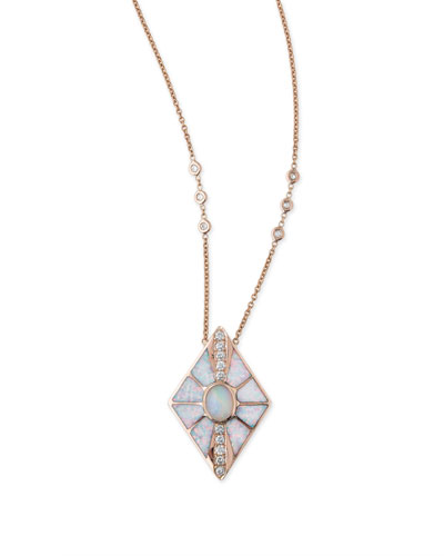 Opal & Diamond Kite Necklace in 14K Rose Gold