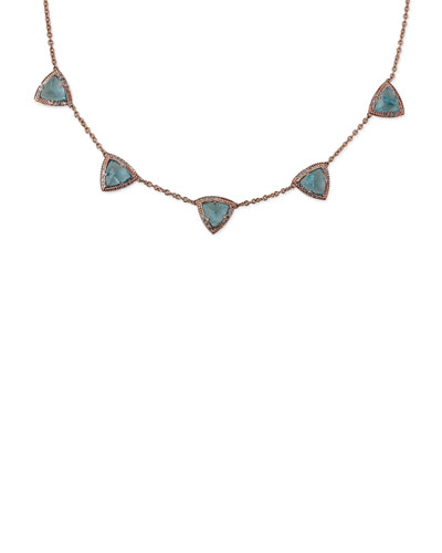 Aquamarine & Diamond Triangle Pyramid Necklace in 14K Rose Gold