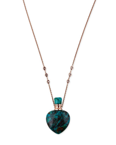 Turquoise Heart Potion Bottle Necklace with Diamonds